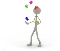 Icon Marketingstrategie: Figur jongliert mit verschiedenen Bausteinen