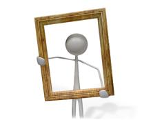 Portrait Icon: Figur mit Bilderrahmen