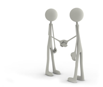 Verhandlungsführung Icon: 2 Figuren beim Hände schütteln